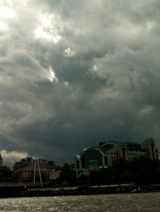 London Clouds on Thames River Cruise