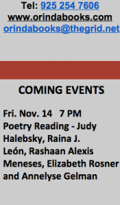 Orinda Books Reading November 2014