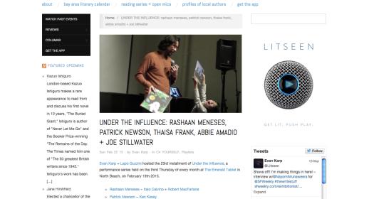 LitSeen February 2014 Under the Influence