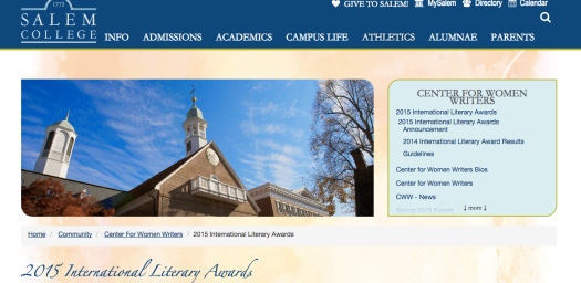 Salem College 2015 International Literary Awards